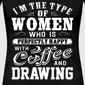 Drawing - This women is perfectly happy with dra - Women's Premium T-Shirt