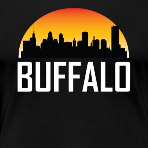 Sunset Skyline Silhouette of Buffalo NY - Women's Premium T-Shirt