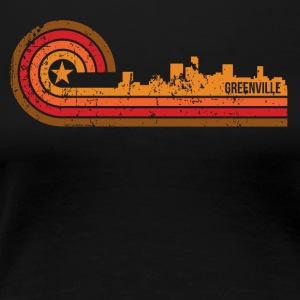 Retro Style Greenville South Carolina Skyline - Women's Premium T-Shirt
