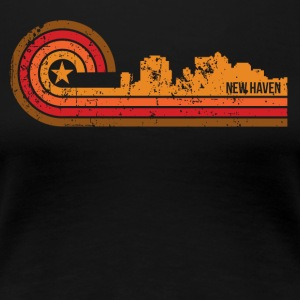 Retro Style New Haven Connecticut Skyline - Women's Premium T-Shirt