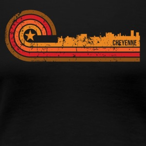 Retro Style Cheyenne Wyoming Skyline Distressed - Women's Premium T-Shirt