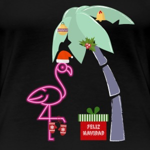 Pink Christmas Flamingo Feliz Navidad Palm Tree