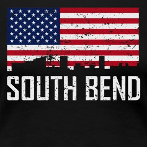 South Bend Indiana Skyline American Flag - Women's Premium T-Shirt