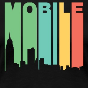 Retro 1970's Style Mobile Alabama Skyline - Women's Premium T-Shirt