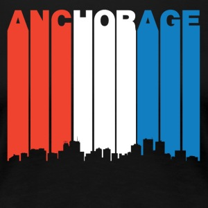 Red White And Blue Anchorage Alaska Skyline - Women's Premium T-Shirt
