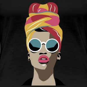 Black Girl Headwrap T-shirt Warm Tones - Women's Premium T-Shirt