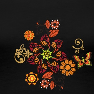 Fantastic floral ornament with decorative butterfl - Women's Premium T-Shirt