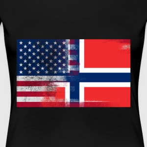Norwegian American Half Norway Half America Flag - Women's Premium T-Shirt