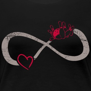 Infinite Love ∞ I Love Bowling ∞ Red Ball + Pins - Women's Premium T-Shirt