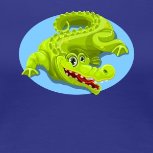 Cartoon Crocodile Vector Design 2 - Women's Premium T-Shirt