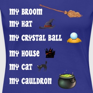 Halloween Witches with broom, hat, cat and cauldro - Women's Premium T-Shirt