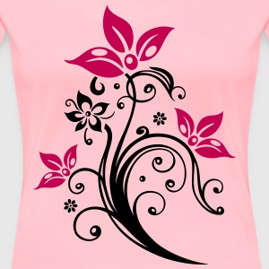 Flowers with filigree floral ornament. - Women's Premium T-Shirt