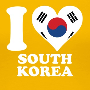 I Love South Korea Korean Flag Heart - Women's Premium T-Shirt