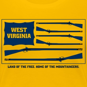 West Virginia Mountaineers Blue Musket Flag - Women's Premium T-Shirt