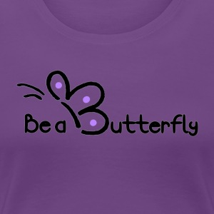 Be a Butterfly logo in purple - Women's Premium T-Shirt