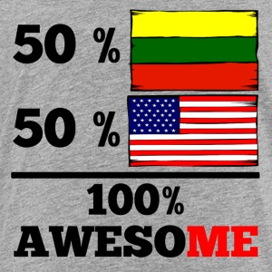 Half Lithuanian Half American 100% Awesome - Toddler Premium T-Shirt