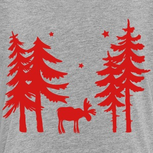 Elk in the forest. Wild with firs and stars. - Toddler Premium T-Shirt