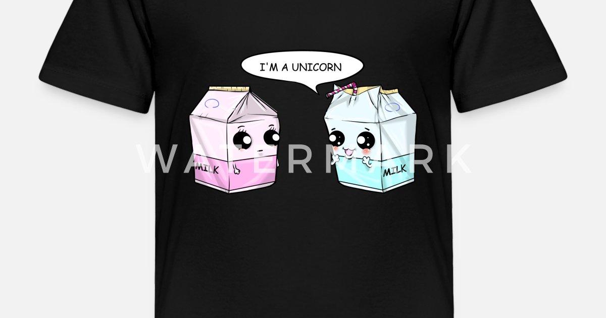 8e2e9545 Toddler Premium T-ShirtUnicorn Milk Bags Kawaii Comic Drinking Straw Gift