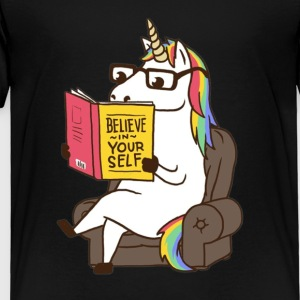 Unicorn Believe in Yourself Motivational Boo - Toddler Premium T-Shirt