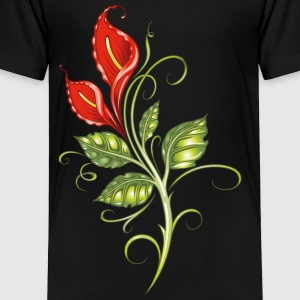 Red calla, lilies with leaves, colorful - Toddler Premium T-Shirt