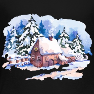 watercolor-landscape-winter-painting-house-trees - Toddler Premium T-Shirt