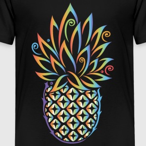 Pineapple, summer, rainbow tattoo style - Toddler Premium T-Shirt