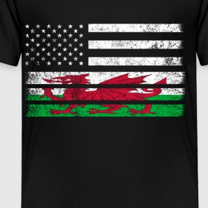 Welsh American Flag - USA Wales Shirt - Toddler Premium T-Shirt