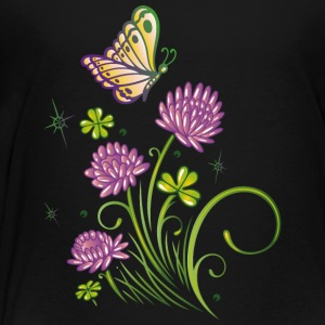 Summer meadow with clover and colorful butterfly. - Toddler Premium T-Shirt