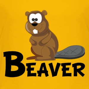 Cartoon Beaver - Toddler Premium T-Shirt