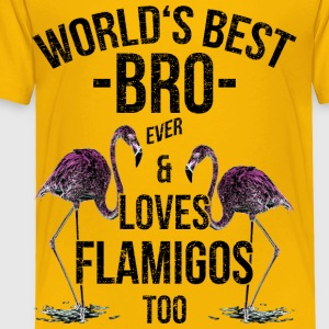World's Best Bro & Loves Flamingos  Best Bro Ever - Toddler Premium T-Shirt