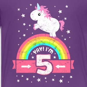 Cute 5th Birthday Unicorn Kid Girl Age 5 Years Old - Toddler Premium T-Shirt