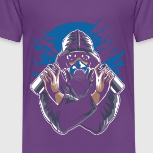 Graffiti Artist With Gasmask. Colors of the world! - Toddler Premium T-Shirt