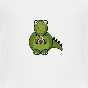 Little Cute Dino T-Rex with ice cream Tee Shirt - Kids' Premium T-Shirt