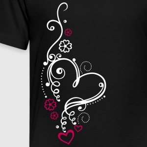 Large heart with small hearts and flowers - Kids' Premium T-Shirt