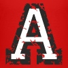 Letter A (Distressed) Black/White - Kids' Premium T-Shirt
