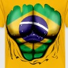 Brazil Flag Ripped Muscles, six pack, chest t-shirt - Kids' Premium T-Shirt