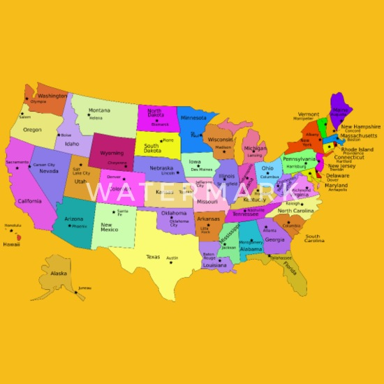 United States Map With Capitals (Fixed) Kids\' Premium T-Shirt ...