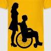 Woman Pushing Man In Wheelchair Silhouette - Kids' Premium T-Shirt