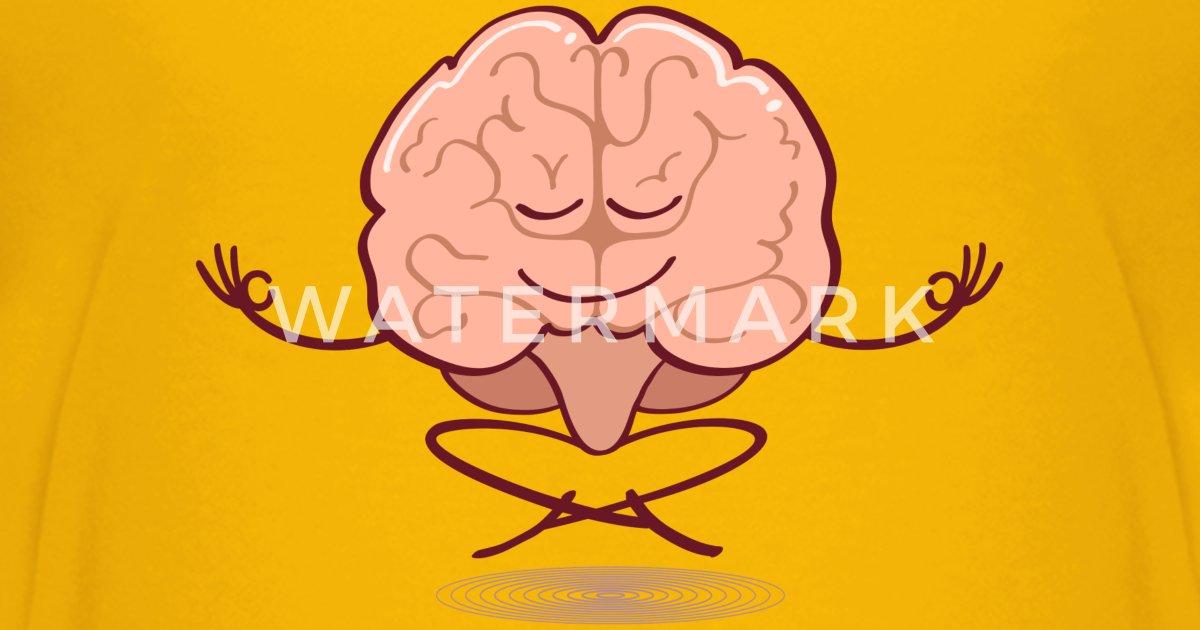Cartoon brain meditating in lotus pose Kids' Premium T ...