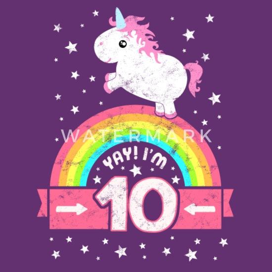 adca8854c Cute 10th Birthday Unicorn Kid Girl 10 Years Old Kids' Premium T ...
