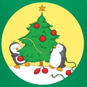 Penguins decorating Christmas Tree