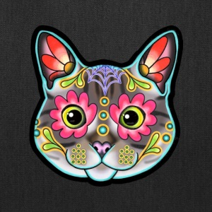 Grey Tabby Cat Day of the Dead Sugar Skull Kitty - Tote Bag