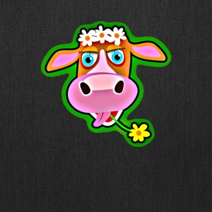 Cute Cow with Bohemian Flower Crown - Tote Bag