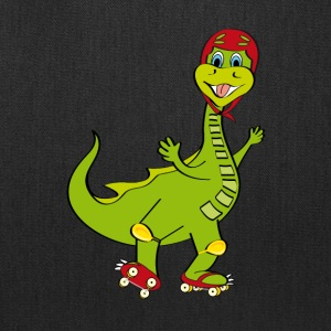 Dinosaur cartoon on skates - Tote Bag