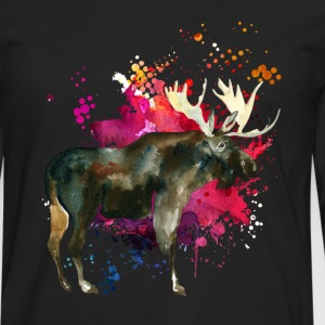 Moose Watercolor Tee Shirt - Men's Premium Long Sleeve T-Shirt