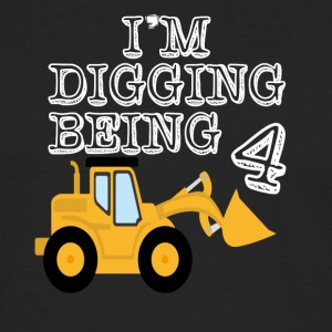 4th Birthday T shirt Bulldozer Construction - Men's Premium Long Sleeve T-Shirt