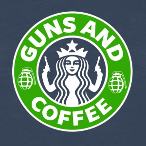 Guns and Coffee - Starbucks satire - Men's Premium Long Sleeve T-Shirt