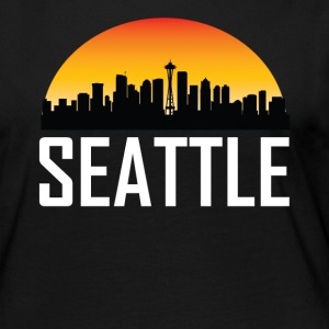 Sunset Skyline Silhouette of Seattle WA - Women's Premium Long Sleeve T-Shirt