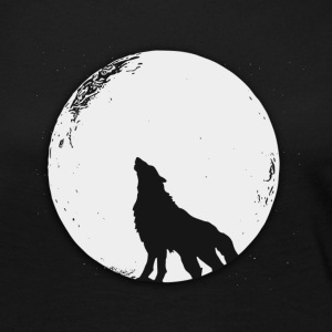 The wolf in the full moon design - Women's Premium Long Sleeve T-Shirt