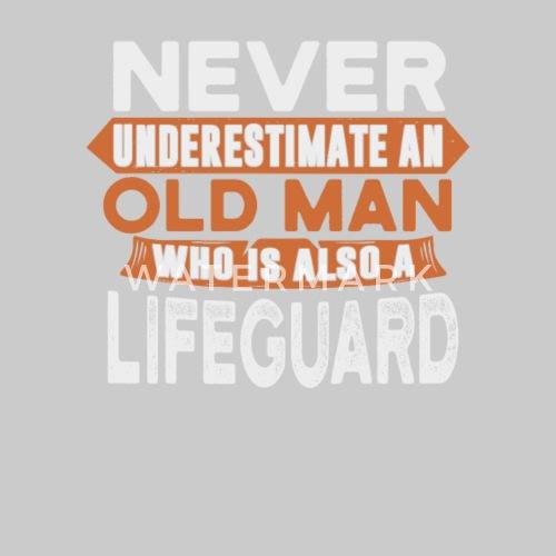 966b8464d1574 ... Never underestimate an lifeguard - Men s Premium Tank Top heather gray.  Do you want to edit the design